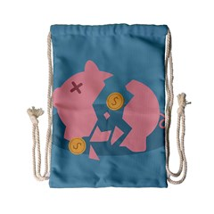 Coins Pink Coins Piggy Bank Dollars Money Tubes Drawstring Bag (small) by Mariart