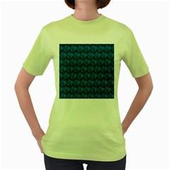 Blue Dragon Snakeskin Skin Snake Wave Chefron Women s Green T Shirt by Mariart