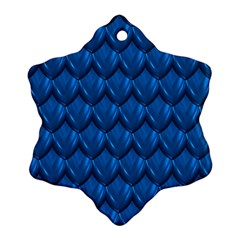 Blue Dragon Snakeskin Skin Snake Wave Chefron Snowflake Ornament (two Sides) by Mariart