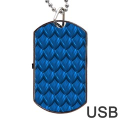 Blue Dragon Snakeskin Skin Snake Wave Chefron Dog Tag Usb Flash (two Sides) by Mariart