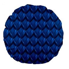 Blue Dragon Snakeskin Skin Snake Wave Chefron Large 18  Premium Round Cushions by Mariart