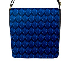 Blue Dragon Snakeskin Skin Snake Wave Chefron Flap Messenger Bag (l)  by Mariart