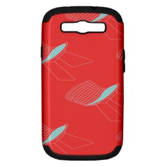 Chairs Wicker Cafe Party Comfortable Red Blue Samsung Galaxy S Iii Hardshell Case (pc+silicone) by Mariart
