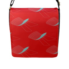 Chairs Wicker Cafe Party Comfortable Red Blue Flap Messenger Bag (l)  by Mariart