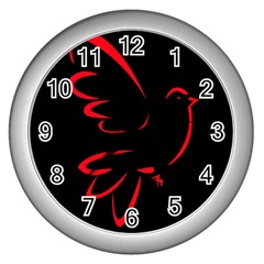 Dove Red Black Fly Animals Bird Wall Clocks (silver)  by Mariart