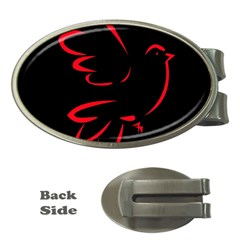 Dove Red Black Fly Animals Bird Money Clips (oval)  by Mariart