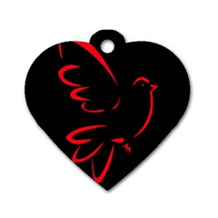 Dove Red Black Fly Animals Bird Dog Tag Heart (two Sides) by Mariart