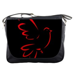 Dove Red Black Fly Animals Bird Messenger Bags by Mariart