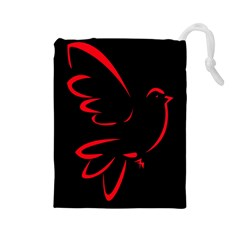Dove Red Black Fly Animals Bird Drawstring Pouches (large)  by Mariart