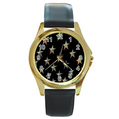 Colorful Gold Star Christmas Round Gold Metal Watch by Mariart