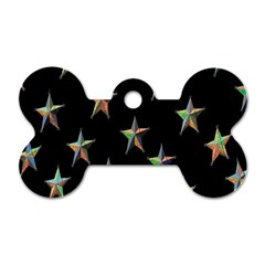 Colorful Gold Star Christmas Dog Tag Bone (one Side)