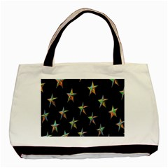 Colorful Gold Star Christmas Basic Tote Bag (two Sides)