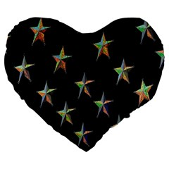 Colorful Gold Star Christmas Large 19  Premium Heart Shape Cushions by Mariart
