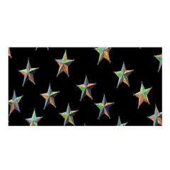 Colorful Gold Star Christmas Satin Shawl by Mariart