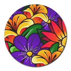 Bright Flowers Floral Sunflower Purple Orange Greeb Red Star Round Mousepads by Mariart