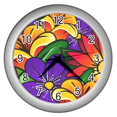 Bright Flowers Floral Sunflower Purple Orange Greeb Red Star Wall Clocks (silver)  by Mariart