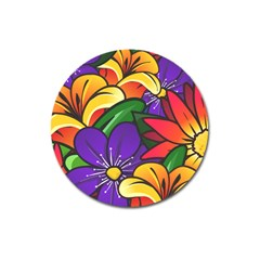 Bright Flowers Floral Sunflower Purple Orange Greeb Red Star Magnet 3  (round) by Mariart