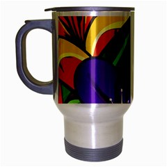 Bright Flowers Floral Sunflower Purple Orange Greeb Red Star Travel Mug (silver Gray) by Mariart