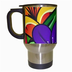 Bright Flowers Floral Sunflower Purple Orange Greeb Red Star Travel Mugs (white) by Mariart