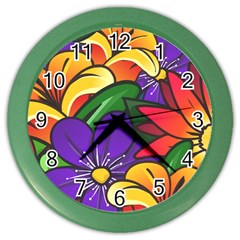 Bright Flowers Floral Sunflower Purple Orange Greeb Red Star Color Wall Clocks by Mariart