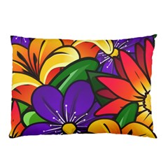 Bright Flowers Floral Sunflower Purple Orange Greeb Red Star Pillow Case by Mariart