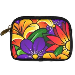 Bright Flowers Floral Sunflower Purple Orange Greeb Red Star Digital Camera Cases by Mariart