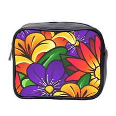 Bright Flowers Floral Sunflower Purple Orange Greeb Red Star Mini Toiletries Bag 2 Side by Mariart