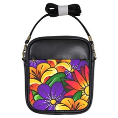 Bright Flowers Floral Sunflower Purple Orange Greeb Red Star Girls Sling Bags by Mariart