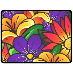 Bright Flowers Floral Sunflower Purple Orange Greeb Red Star Fleece Blanket (large)  by Mariart