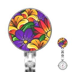 Bright Flowers Floral Sunflower Purple Orange Greeb Red Star Stainless Steel Nurses Watch by Mariart