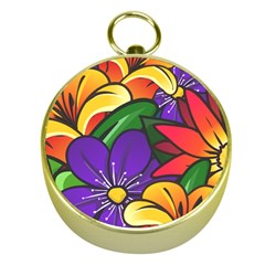 Bright Flowers Floral Sunflower Purple Orange Greeb Red Star Gold Compasses by Mariart