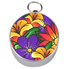 Bright Flowers Floral Sunflower Purple Orange Greeb Red Star Silver Compasses by Mariart