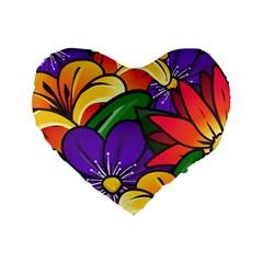Bright Flowers Floral Sunflower Purple Orange Greeb Red Star Standard 16  Premium Flano Heart Shape Cushions by Mariart
