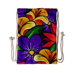 Bright Flowers Floral Sunflower Purple Orange Greeb Red Star Drawstring Bag (small) by Mariart