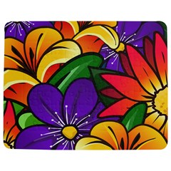 Bright Flowers Floral Sunflower Purple Orange Greeb Red Star Jigsaw Puzzle Photo Stand (rectangular) by Mariart