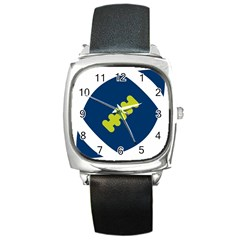 Football America Blue Green White Sport Square Metal Watch by Mariart