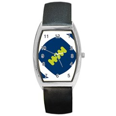 Football America Blue Green White Sport Barrel Style Metal Watch by Mariart