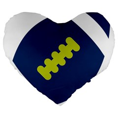 Football America Blue Green White Sport Large 19  Premium Heart Shape Cushions by Mariart
