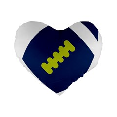 Football America Blue Green White Sport Standard 16  Premium Flano Heart Shape Cushions by Mariart