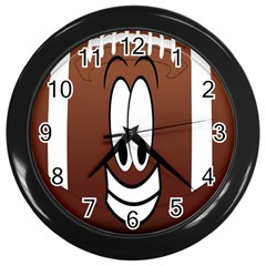 Happy Football Clipart Excellent Illustration Face Wall Clocks (black) by Mariart