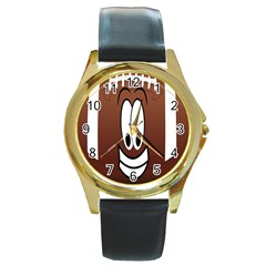 Happy Football Clipart Excellent Illustration Face Round Gold Metal Watch by Mariart