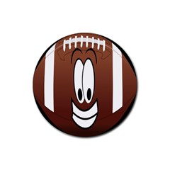 Happy Football Clipart Excellent Illustration Face Rubber Coaster (round)  by Mariart