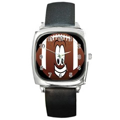 Happy Football Clipart Excellent Illustration Face Square Metal Watch by Mariart