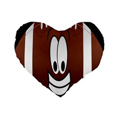 Happy Football Clipart Excellent Illustration Face Standard 16  Premium Flano Heart Shape Cushions by Mariart