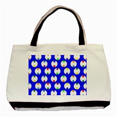 Easter Egg Fabric Circle Blue White Red Yellow Rainbow Basic Tote Bag (two Sides)
