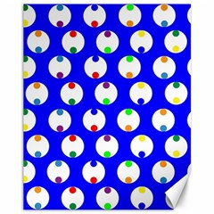 Easter Egg Fabric Circle Blue White Red Yellow Rainbow Canvas 11  X 14   by Mariart