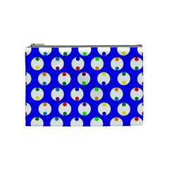Easter Egg Fabric Circle Blue White Red Yellow Rainbow Cosmetic Bag (medium)  by Mariart