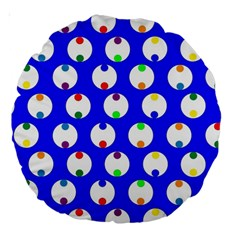 Easter Egg Fabric Circle Blue White Red Yellow Rainbow Large 18  Premium Round Cushions by Mariart
