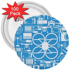 Drones Registration Equipment Game Circle Blue White Focus 3  Buttons (100 Pack)  by Mariart