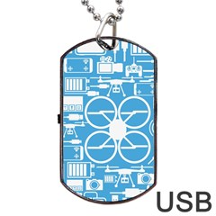 Drones Registration Equipment Game Circle Blue White Focus Dog Tag Usb Flash (one Side) by Mariart